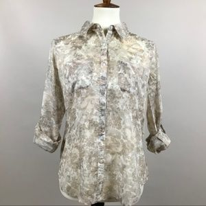 Talbots Printed Button Down Blouse